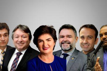Da esq. para dir.: Celso Sabino, Eliel Faustino (DEM), doutora Heloisa (DEM), Hilton Aguiar (DEM), Olival Marques e Nilton Neves (Arte: Ygor Barbosa)