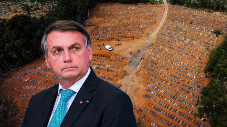 Artwork shows Bolsonaro in the foreground over aerial image of cemetery in Manaus with dozens of open graves for Covid-19 victims. (Art: Ygor Fábio Barbosa)