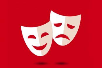 As máscaras, no teatro, representam a tragédia e a comédia (Reprodução/Internet)