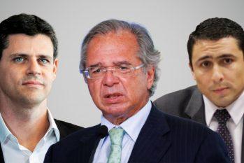O secretário especial do Tesouro e Orçamento, Bruno Funchal (à esq), o ministro da Economia, Paulo Guedes (no centro), e o secretário do Tesouro Nacional, Jeferson Bittencourt (à dir.) (Arte: Ygor Fabio Barbosa)