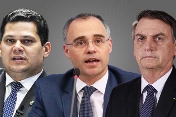 À esquerda, o senador David Alcolumbre (DEM-AP), André Mendonça, indicado ao STF e à direita o presidente Jair Bolsonaro. (Guilherme Oliveira)