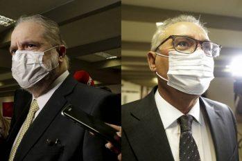 Procurador-geral da República, Augusto Aras, à esquerda, e o senador Renan Calheiros (MDB-AL), à direita. (Agência O Globo)